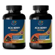 Pure ACAI Berry Powder 1200mg Cleanse Super Antioxidant 2 Bottles, 120 Capsules