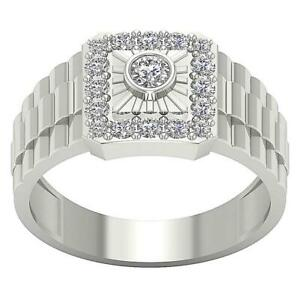 Mens Solitaire Anniversary Ring SI1 G 0.90 Ct Natural Diamond White Gold 11.85MM