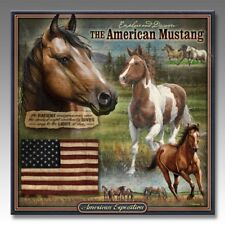 #8164 - AMERICAN EXPEDITION MUSTANG WILDLIFE 3-D EMBOSSED SQUARE TIN WALL SIGN