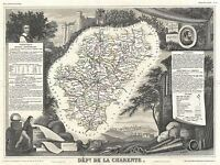 GEOGRAPHY MAP ILLUSTRATED ANTIQUE LEVASSEUR CHARENTE POSTER ART PRINT BB4367A