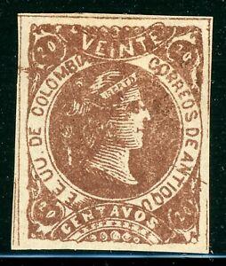 ANTIOQUIA Early MH Selections: Scott #36 20c Brown Liberty (1883) WOVE CV$9+