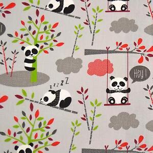 Textiles français CUDLY PANDAS (Soft Grey) fabric - 100% Cotton 160 cm wide