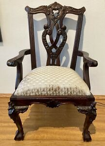 """Vintage Chippendale Style Mahogany Childs Doll Accent Chair Ball & Claw 19 1/2"""""""