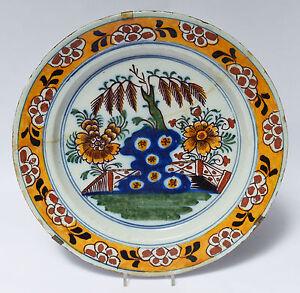 Keramik Fayence Wandteller Teller Chinoiserie Muffelfarben um 1760 wohl Delft