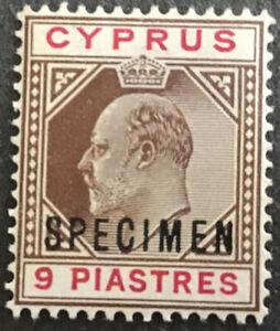 Cyprus Edward VII 9 Piastres Brown & Carmine SG56 Overprinted Specimen No Gum