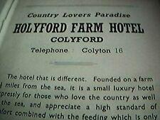 ephemera 1947 advert seaton holyford farm hotel colyford