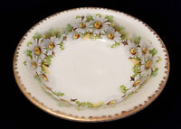 Silesia Old Ivory Germany Floral White Daisy Gold Trim Round Serving Bowl