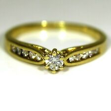 Quality 0.40ct Diamond Solitaire & Accents 18ct Yellow Gold ring size P ~ 7 3/4