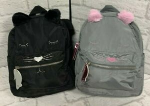 Cat Mini Backpack Bag Rucksack Brand New Colours Grey Pink or Black Silver