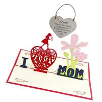 Mother's Day Birthday 3D Pop Up Greeting Thank You Card Heart Wooden Plaque