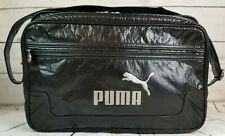 PUMA Cross Body Shoulder Laptop Tablet Messenger Faux Leather Zipper Black Bag