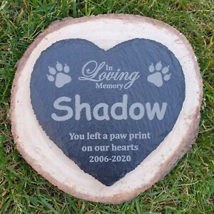 Personalised Cat / Pet Memorial Heart Slate Sign, Plaque, Tombstone Grave Marker