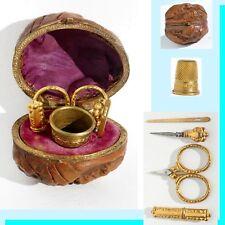 ancien nécessaire de couture miniature NOIX * Antique sewing etui walnut ciseaux