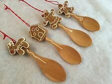 4x Gingerbread Man Resin Christmas Tree Spoon Decoration Gisela Graham Welsh