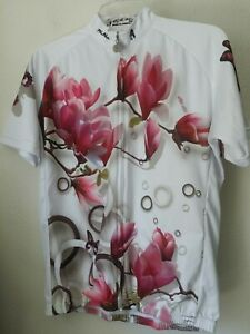 Paladin Womens Floral Butterfly Full Zip Bicycling Jersey Sz Large Excellent