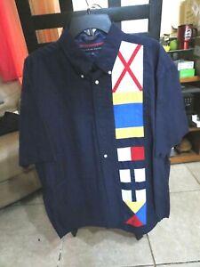 Tommy Hilfiger Men Shirt Short Sleeve Size XL Blue