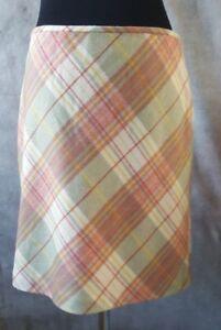 Ann Taylor Loft Skirt Sz 14 Gray Yellow Green Red Wool Dress Casual  L