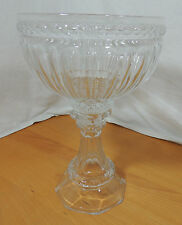 "Huge Clear Crystal Pedestal Compote Giant Wine Glass 13 3/4"" Tall"
