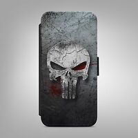 PUNISHER SKULL ART LEATHER FLIP WALLET PHONE CASE COVER FOR IPHONE SAMSUNG