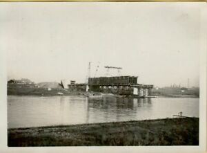 Sammlung von 5 Fotos vom Bau der Flügelwegbrücke in Dresden um 1929/30