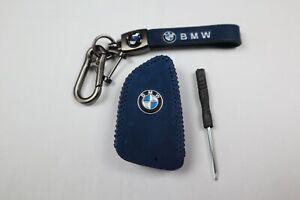 BMW Leather Key Fob Case & Keychain (Blue)