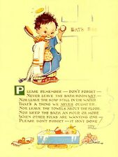 Mabel Lucie Attwell please remember bathroom toilet metal sign humurous plaque