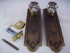 Antique  Glass Door Knob Set Modern Door Conversion Retrofit   #694