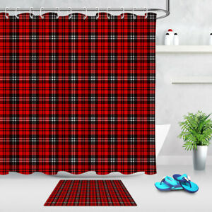 Red and Black Checkered Squares Plaid Style Shower Curtain Set Bathroom Decor