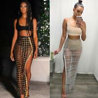 Women 2Pcs Bodycon Two Piece Crop Top and Skirt Set Perspective Dress Party M6U6