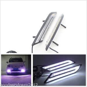 2 Pcs 12V Blade Shape HID White LED Vehicle Daytime Running Light Fog Lamp DRL