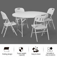 Bi-Fold White Folding Round Dining Table Chair Set with Carrying Handle Plastic