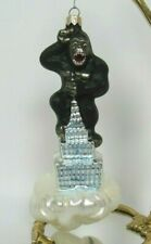 1998 KING KONG EMPIRE STATE BUILDING GLASS CHRISTMAS TREE ORNAMENT 6 3/8