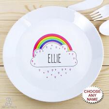PERSONALISED Childrens Plate, Rainbow. Plastic KIDS Dinner Plate. Girls Name