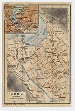 1930 ORIGINAL VINTAGE CITY MAP OF COMO / LAKE COMO / LOMBARDY / ITALY