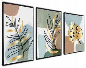 A4 Set of 3 Modern Wall Art Prints Living Room Bedroom Gold Leaves FRAMED