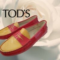 Tod's red yellow patent leather mocassin loafers flat shoes size 6 women kids