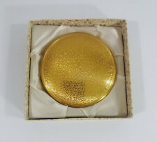 Vintage Boots Gold Tone Powder Box Compact Unused Circles Design