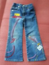 FUBU Girls Skinny Denim Jeans Youth Girls Size 5 with Designs and Words