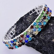 Stretch Bracelet Tennis Rhinestones Silver Plated Chunky Wristband Fashion