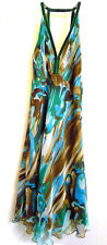 Halter Strap Cocktail SunDress XS - XXS? Blue Brown Abstract Semi -Sheer Flared