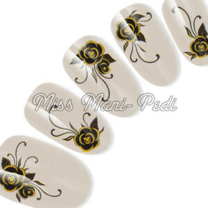 Black Rose Nail Stickers, Water Decals, Nail Decals Transfers Roses Flowers H008