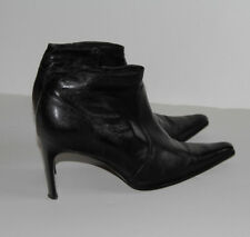PAOLO BONDINI BLACK ANKLE LEATHER HEEL BOOTS