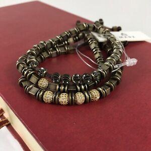 Marz Mens Urban Metal Jeweled Bracelet Trio Set Gold Adjustable Modern Man