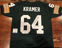 Jerry Kramer Autographed Green Bay Packers Custom Green Jersey HOF 18 Beckett