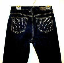 BEAUTIFUL BABY PHAT RHINESTONE EMBELLISHED TAPERED LEG DARK JEANS SZ 7 X 30.25""