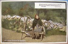 Irish Postcard OLD WOMAN SPINNING Wheel by Roadside Eva Brennan Val CarboColour