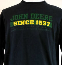 John Deere Since 1837 Long Sleeve Black T-Shirt w Sewn-On Lettering L