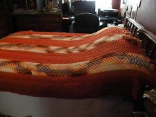 AFGHAN FALL COLORS 59 X 78 ORANGE YELLOW BROWN