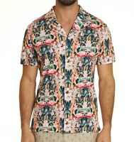 Robert Graham Men's Short Sleeve Flamingo Camp Retro Tropical Knit Shirt Multi