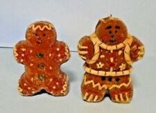 "Vintage Christmas Gingerbread Boy and Girl Candles 5"" Tall With Sugar Sparkles"